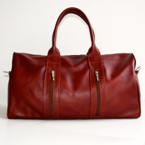 Red leather weekend bag | Handmade by Vank Design
