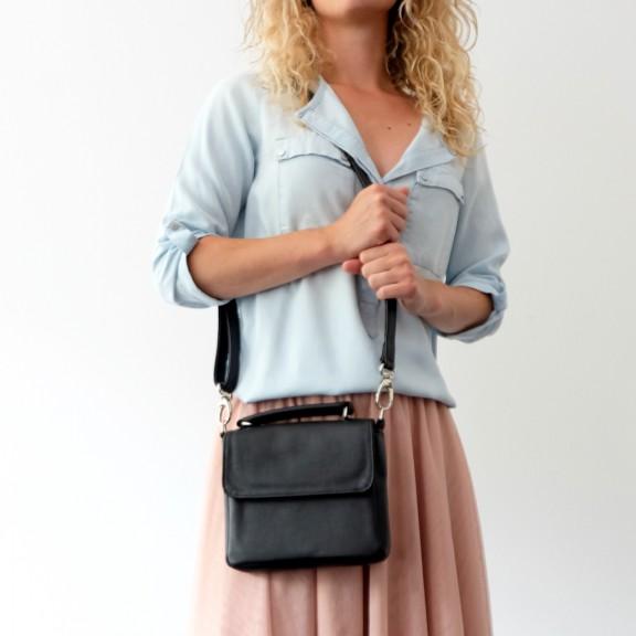 Black mini shoulder bag| handmade by Vank Design