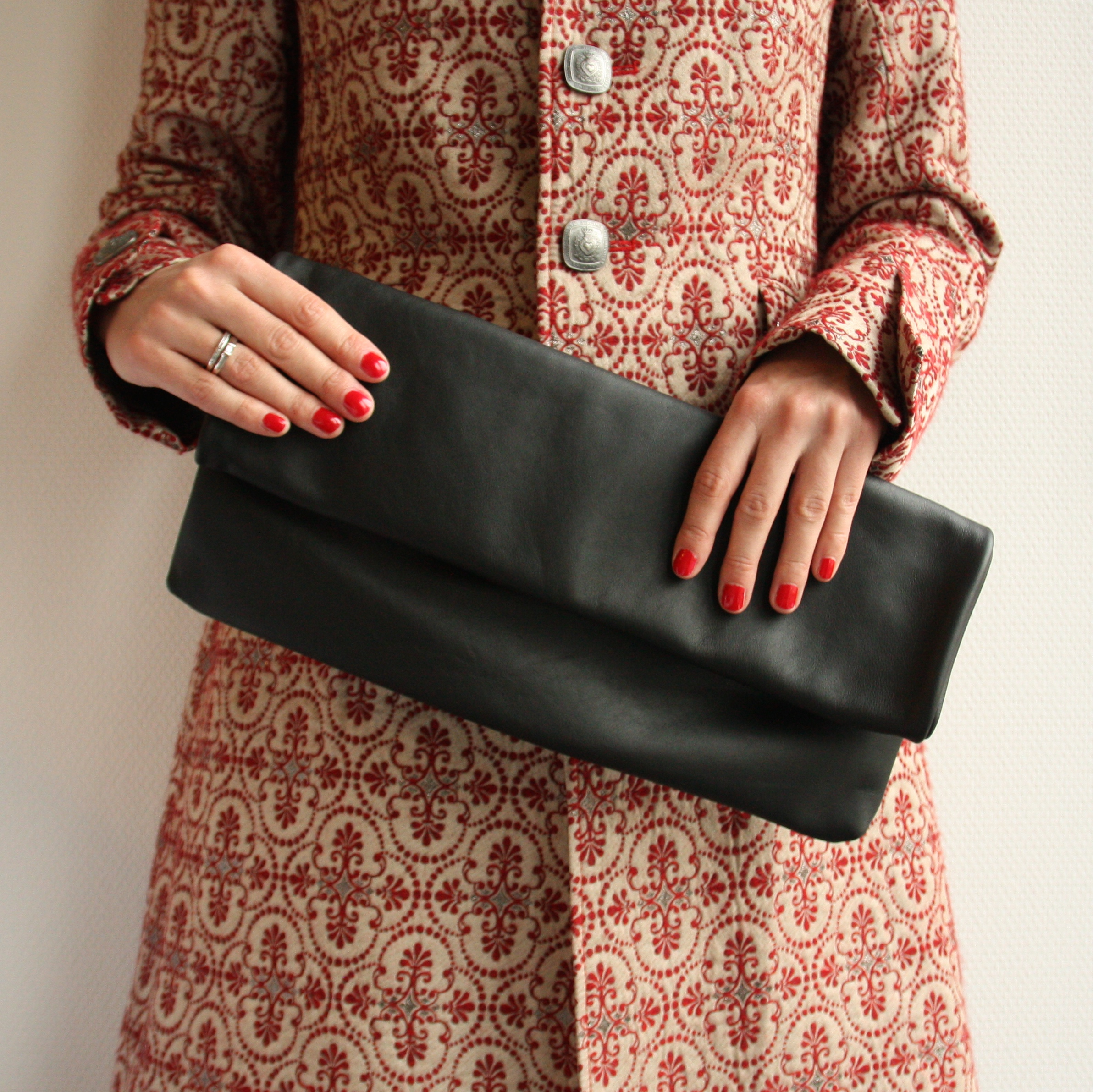 f1d32a9780 Large black clutch | Leather fold over evening bag | Handmade by Vank Design