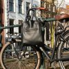 Black leather tote bag | Handmade by Vank Design