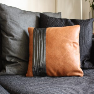 Handmade brown leather pillow cover | Vank Design