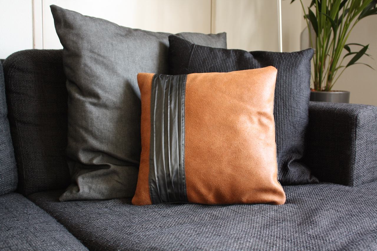 Handmade Brown Leather Pillow Cover Vank Design