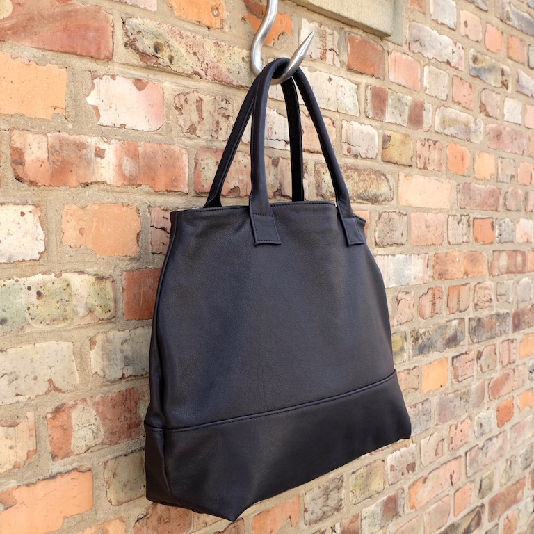 Large black tote | Handmade leather bag by Vank Design