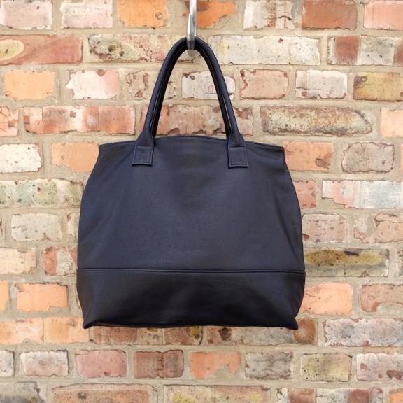 Large black leather tote bag | Leather oversized handbag | Handmade by Vank Design
