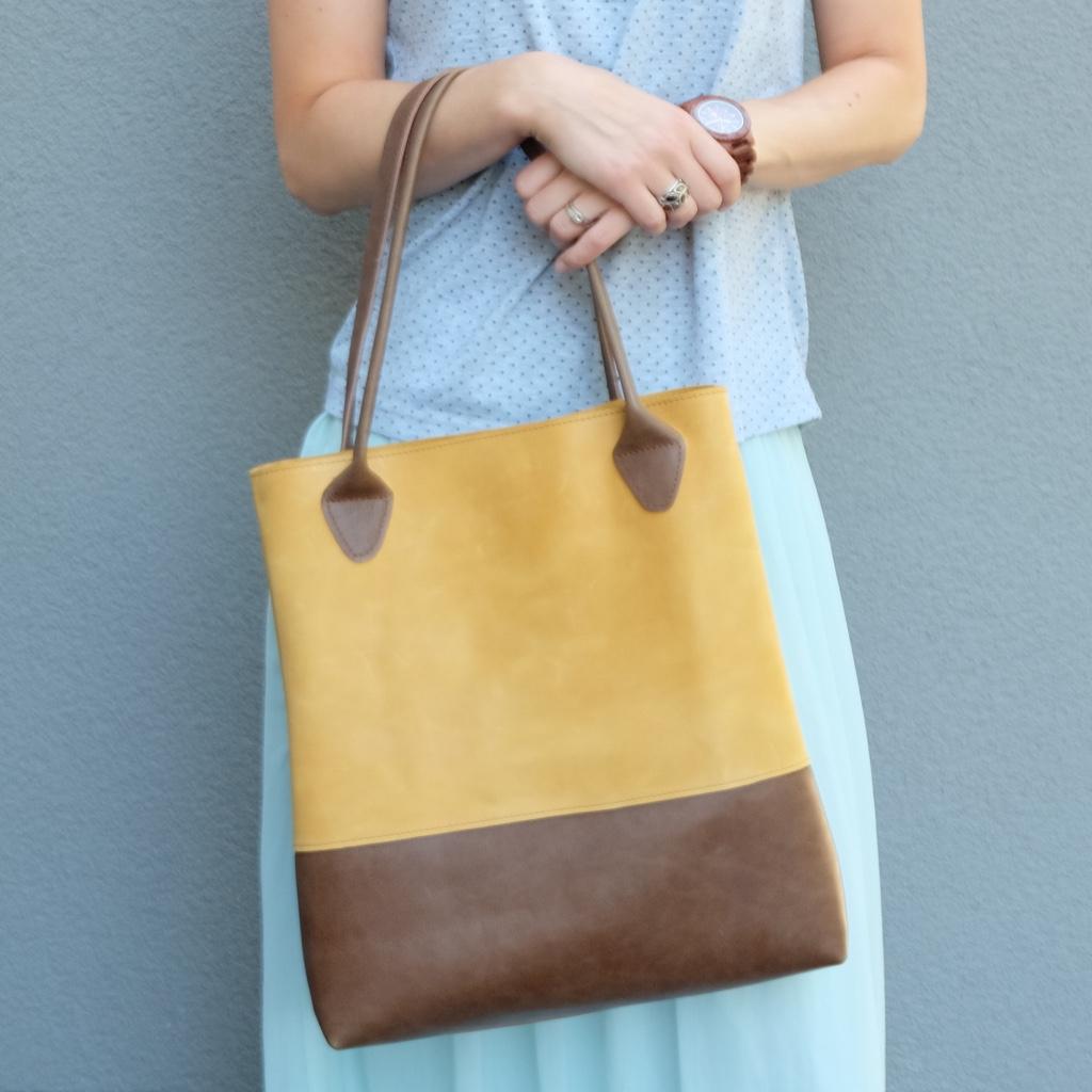 Brown mustard yellow leather tote bag | Vank Design