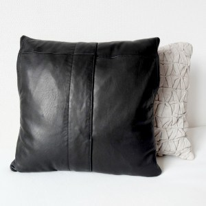 Black leather pillow cover | Upcycled leather | Vank Design