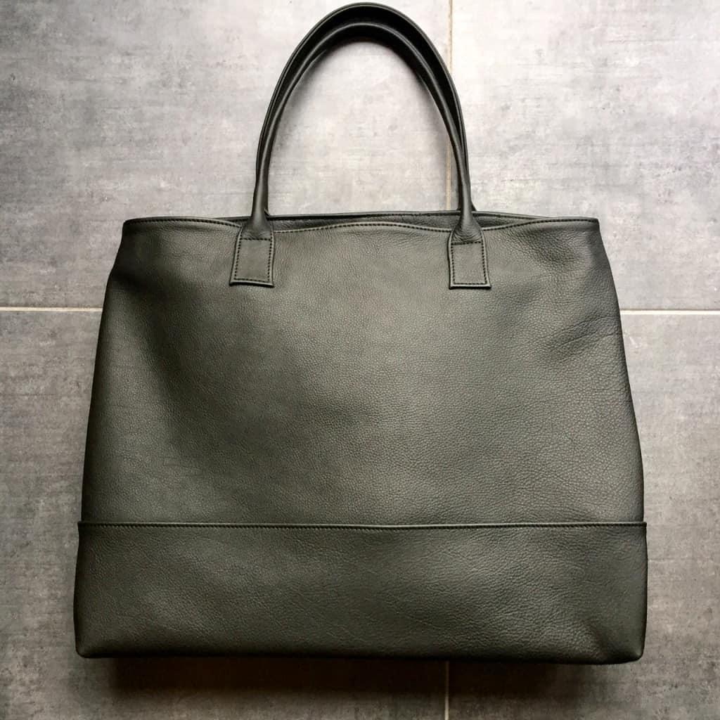 Large black tote | Handmade leather bag by Vank Design