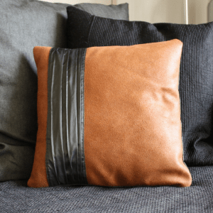 Leather brown pillow | Handmade by VanK Design